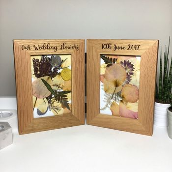 Double oak picture frame pressed flowers laser engraved wedding message