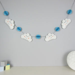 Cloud Garland With Honeycomb Pom Poms - baby's room