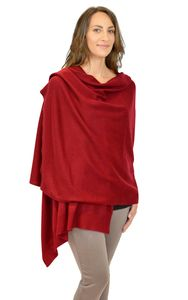Burgundy Wine Red Pure Cashmere Wrap Gift Boxed