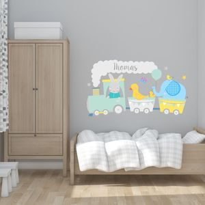 Cute Animal Train Fabric Wall Sticker - wall stickers
