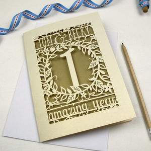 Personalised Papercut Flower Anniversary Card - anniversary cards