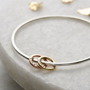Personalised 9ct Gold And Silver Mini Circle Bangle - gifts for mothers