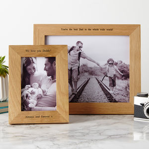 Personalised Solid Oak Photo Frame - for new dads