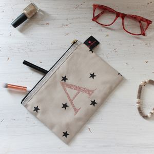 Personalised Star Print Rose Gold Make Up Bag