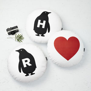 Set Of Three Penguins Cushions - valentines wish list