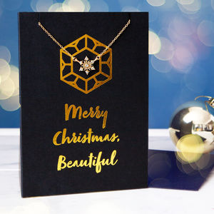 Luxury Gold Foil Christmas Card And Necklace Gift Set