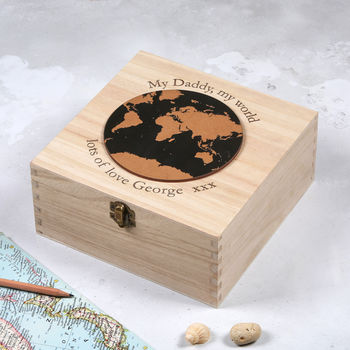 Personalised My Daddy My World Map Keepsake Box