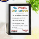 Personalised Teacher End Of Term Report Card Print