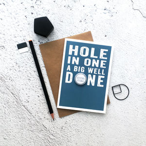 'Hole In One' Well Done Badge Card - congratulations cards