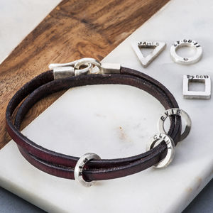 Leather And Silver Mens Charm Bracelet - bracelets