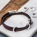Leather And Silver Mens Charm Bracelet