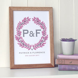 Personalised Wreath Garland Print - family & home