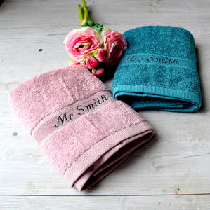 Personalised Dusky Pink And Blue Wedding Towels - bathroom