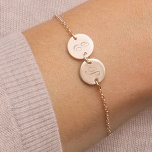 Personalised Sterling Silver Double Disc Bracelet - personalised mother's day gifts