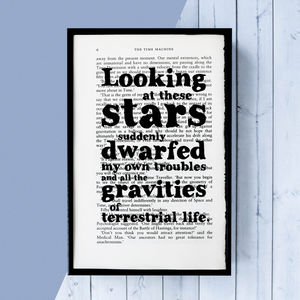 H.G. Wells 'Looking At These Stars' Framed Book Page - new in prints & art