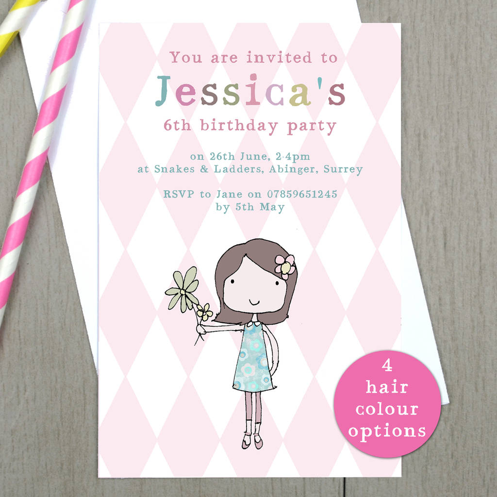 Personalised Girls Birthday Party Invitations