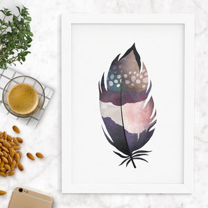 Decorative Watercolour Feather Printed - shop by subject