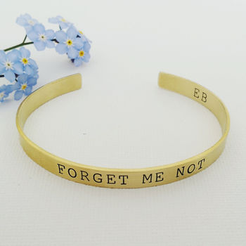 Forget Me Not Brass Bangle