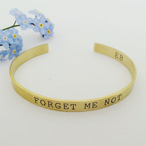 Forget Me Not Brass Bangle - personalised jewellery