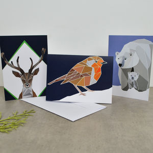 Pack Of Geometric Animal Christmas Cards - christmas cards: packs