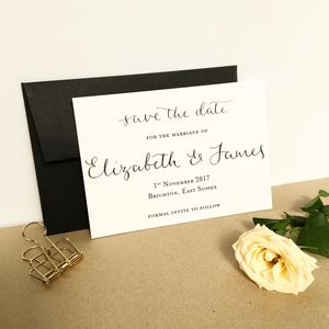 Monochrome Modern Calligraphy Save The Date - save the date cards