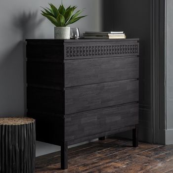 Black Boho Four Draw Chest