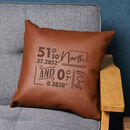 Personalised Coordinates Vegan Leather Cushion