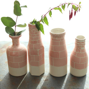 Vintage Bottle Ceramic Vase With Brick Wall Painting