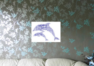 Personalised Dolphins Word Art Print - children's pictures & paintings
