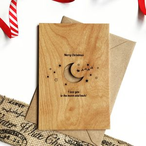 Moon And Back Personalised Wooden Christmas Card