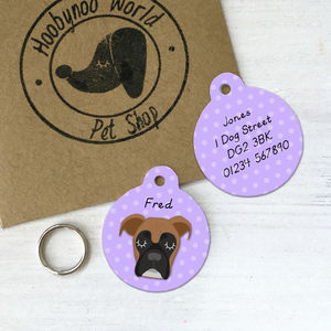 Boxer Personalised Dog Name ID Tag - dogs