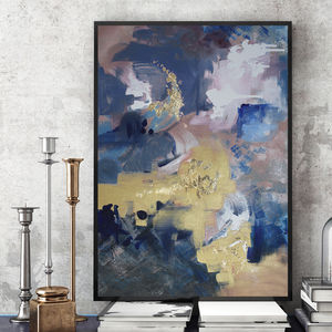 'Indigo Polo' Framed Giclée Abstract Canvas Print Art