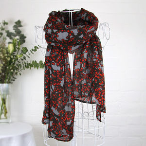 'Winter Berries' Red And Grey Wool Scarf Wrap