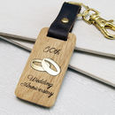 50th Anniversary Leather and Wood Keyring