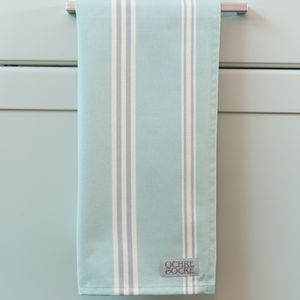 Eastnor Green Ticking Stripe Organic Tea Towel