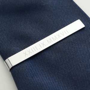 Personalised Roman Numerals Tie Clip - wedding jewellery
