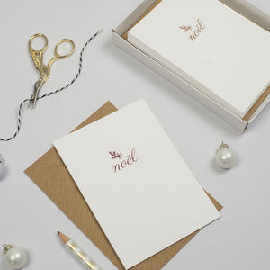 Pack Of Six Luxury Rose Gold Foil Christmas Cards - cards & wrap