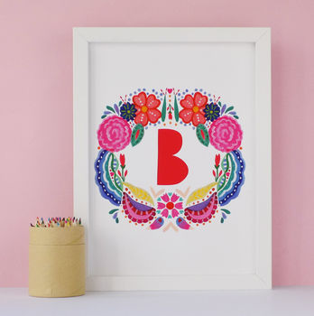 Bright Folk Floral Childrens Initial Print