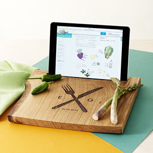 Solid Oak Personalised Chopping Board And iPad Stand - 5th anniversary: wood