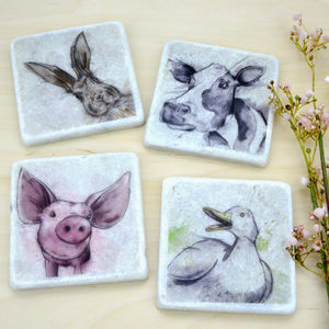 On The Farm, Italian Marble Coasters - dining room