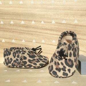 Leopard Print Suede Baby Booties - clothing
