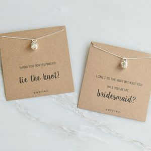 'Tie The Knot' Bridesmaid Silver Pendant Necklace Gift - wedding fashion