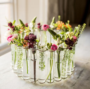 Circular Test Tube Center Piece Vase - rustic wedding