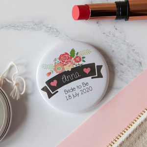 Personalised Ribbon And Rose Big Badge Or Mirror - wedding favours