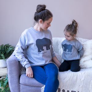 Personalised Mummy And Baby Bear Sweatshirt Set