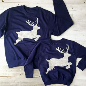 Mummy And Me Glitter Reindeer Jumper - clothing