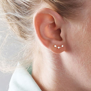 Silver Stars Ear Studs - gifts for her