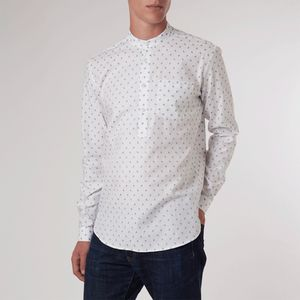 White Paisley Over Grandad Shirt