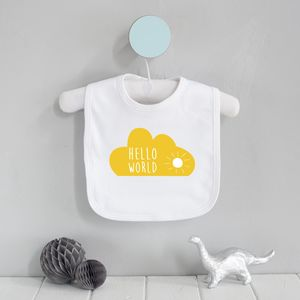 Hello World Cloud Screenprinted Bib