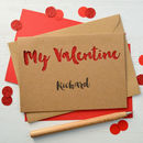 Personalised My Valentine Glitter Cut Out Card
